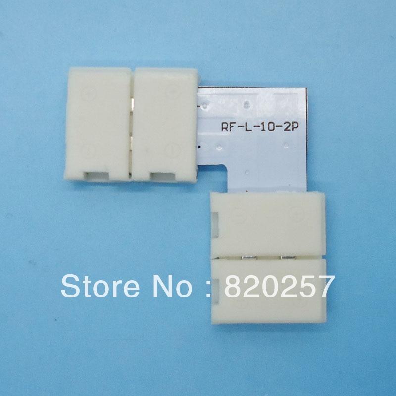 شحن مجاني 20 قطعة الكثير 10 مللي متر عرض 2pin led قطاع الأوسط موصلات L شكل دون لحام ل 10 مللي متر لون واحد قطاع