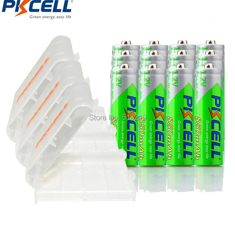 Аккумуляторная батарея PKCELL AAA, 12 шт., 1,2 В, 850 мА/ч, Ni-MH, AAA, LSD, 3 А, держатель для аккумуляторов AA/AAA