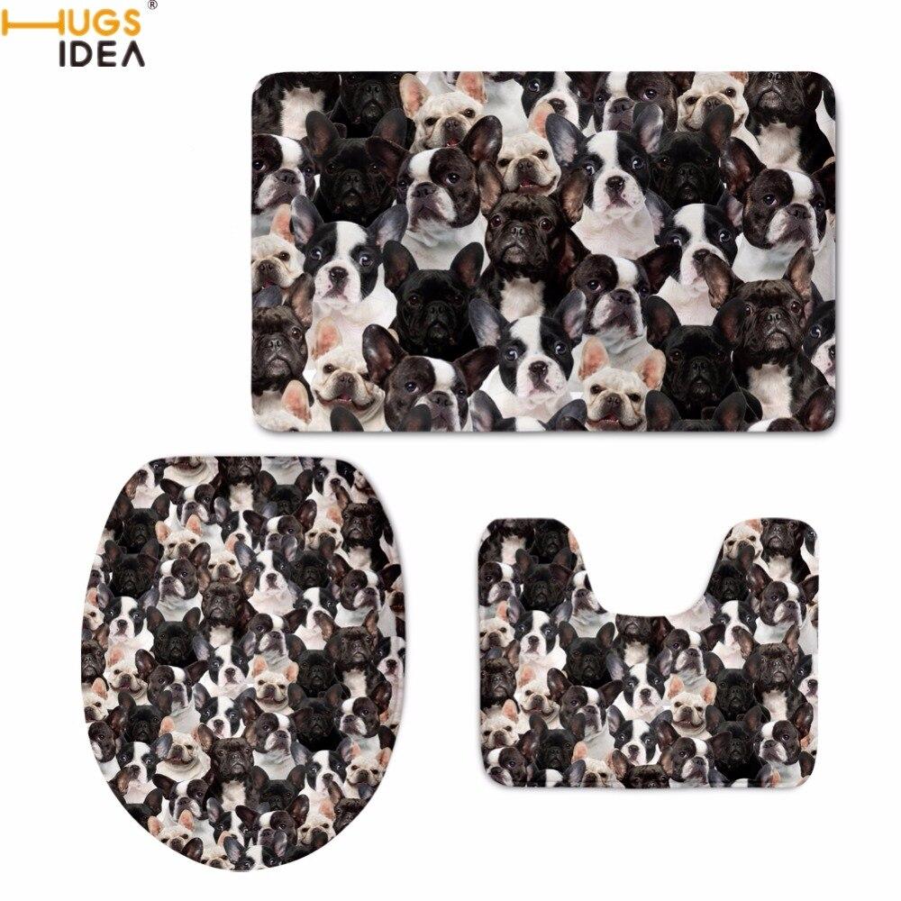 HUGSIDEA Bonito Bulldog Francês/Boston Terrier Impressão Toilet Seat Covers Acessórios Tapete Macio Tapete de banho Banheiro Banho Quente 3 PCS conjunto