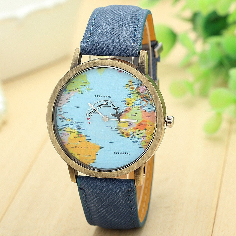 Fashion Global Travel By Plane Map Women Dress Watch Denim Fabric Band Dress Wristwatches Quartz Watch Relogio Feminino Gift