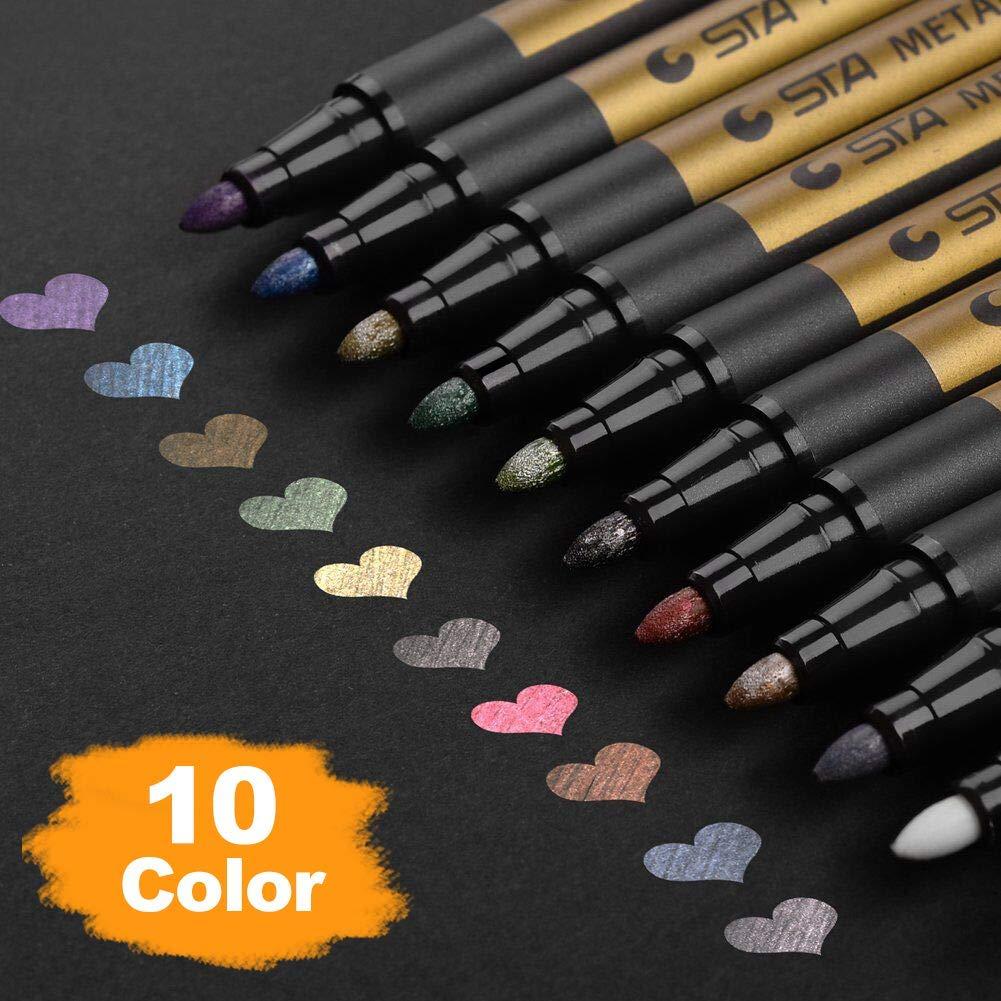 Rotuladores metálicos de primera calidad, DealKits Set de 10 lápices de pintura de colores surtidos para manualidades de Scrapbooking, álbum de fotos DIY,