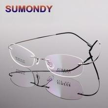 SUMONDY Ultralight Rimless Prescription Glasses Frame Women Men Classic Alloy Eyeglasses Frames Plain Glass Spectacles F143A