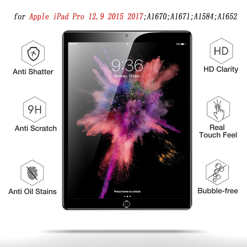 Protector de pantalla HD para iPad Pro 12,9 2018 de vidrio templado Tablet película de pantalla protectora antiarañazos para iPad Pro 12,9 pulgadas 2017