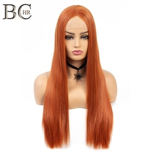 BCHR Long Orange Synthetic Lace Front Wig  for Women Middle Part Straight Wig Handmade Lace Hair