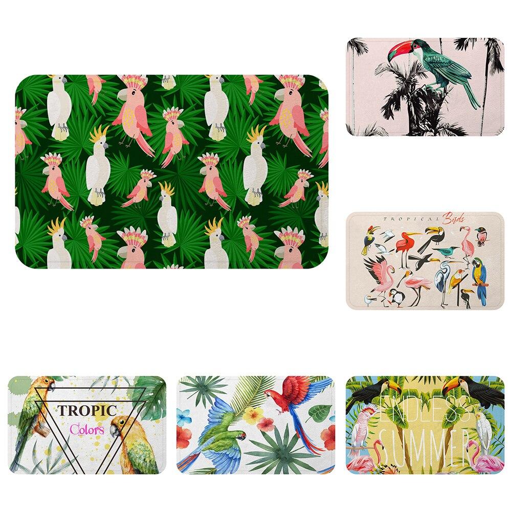 Verano Tropical loros tucanes pájaro genial alfombra de baño alfombra decorativa Anti-Slip alfombras habitación piso del coche Bar alfombras puerta hogar Decoración regalo