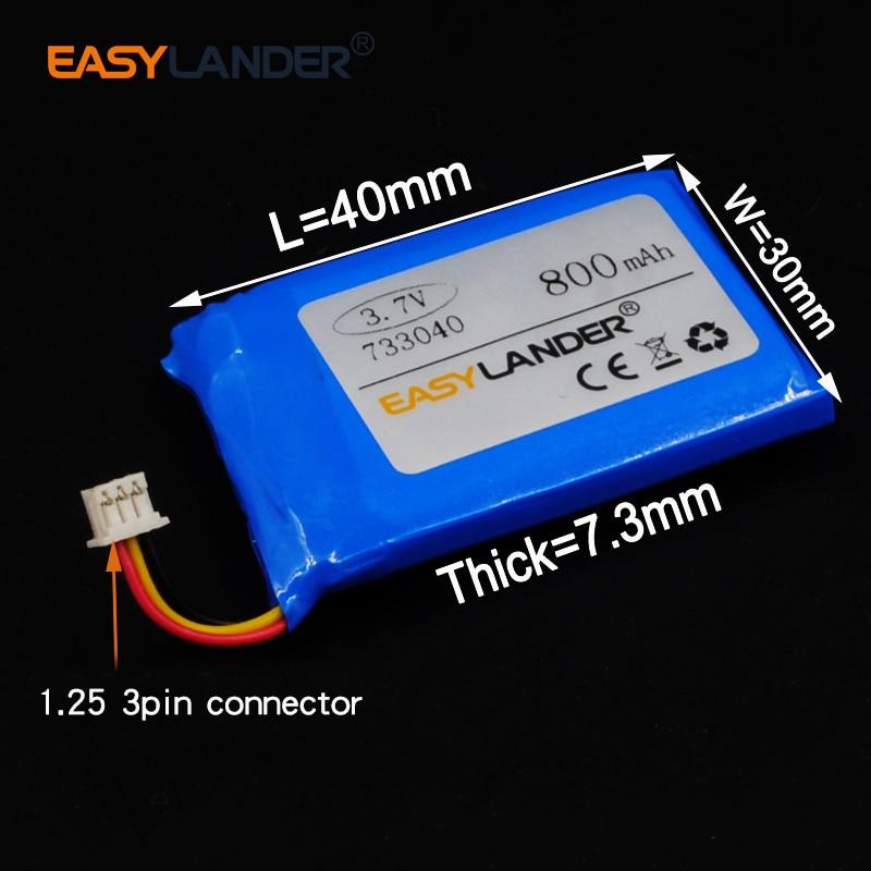 7.3x30x40mm 3.7v 800mah recarregável li polímero li-ion bateria para fone de ouvido bluetooth gps psp pda mp3 mp4 mp5 733040 3 fio