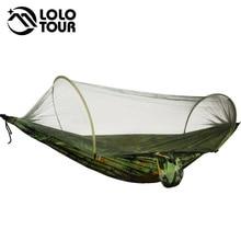 Duurzaam Draagbare Camping Hangmat Tent Quick Open Geen Noodzaak Om UP Hamak Rede Camouflage Netting Hangmat Zwart Legergroen