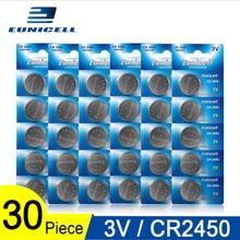 30 pièces = 6 cartes Eunicell 350mAh CR2450 CR 2450 ECR2450 KCR2450 5029LC LM2450 pile bouton pile bouton 3V lithium montre piles