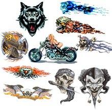 Vinyl Wolf Hoofd Decals Skull Head Fire Flame Funny Eagle Clown Sticker voor Motorfiets Auto Deur Stickers Truck Helm Decor