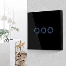 Norme ue royaume-uni LED tactile Swich 1/2/3 Gang 170-250V interrupteur dalimentation tactile interrupteur de lumière murale encastré Module de commande de panneau de verre