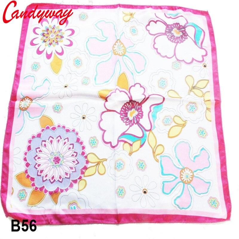Color Flowers artwork Head scarf Silk Fashion Ladies Accessories Women Square Scarves neckerchief fashionable Printed bb056