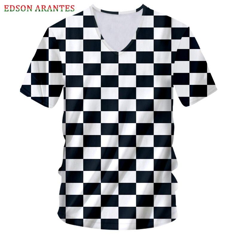 Camiseta negra blanca a cuadros para hombres y mujeres, camiseta Hipster Sexy a cuadros con cuello en V, camiseta de estilo Hip Hop Punk Rock, camiseta personalizada S-7XL