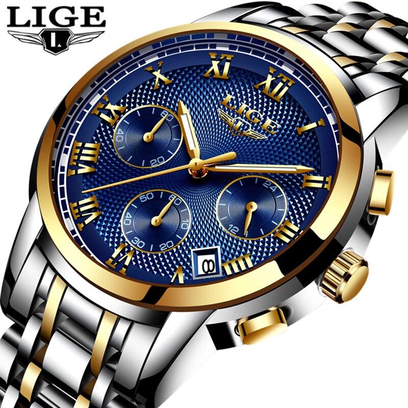 LIGE Watch Men Top Brand Luxury Fashion Sport Quartz Clock Mens Watches Full Steel Waterproof Gold Wrist Watch Relogio Masculino