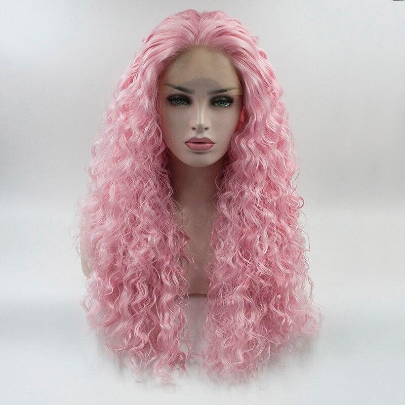 Fantasia Beleza Rosa Cor Curly Peruca Dianteira Do Laço Sintético Para As Mulheres