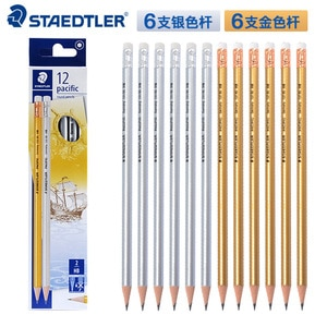 12pcs STAEDTLER 131 80 C12 Colored Pencil Rod With Eraser Pencil School Stationery Office Supplies Student Writing Pencils HB