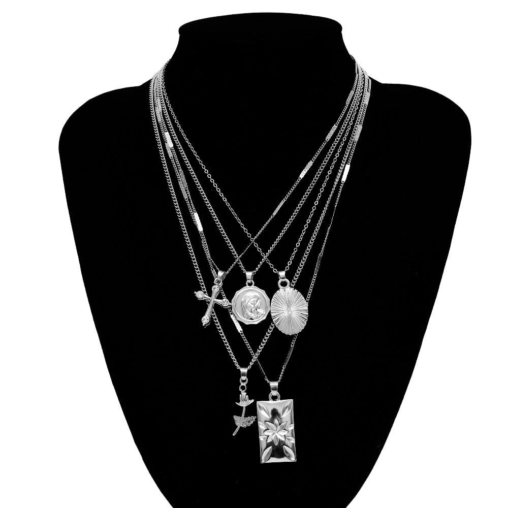 Купить с кэшбэком Ingemark Layered Rose Cross Pendant Choker Necklace Set Boho Carve Portrait Coin Long Chain Necklace Women Christian Gift