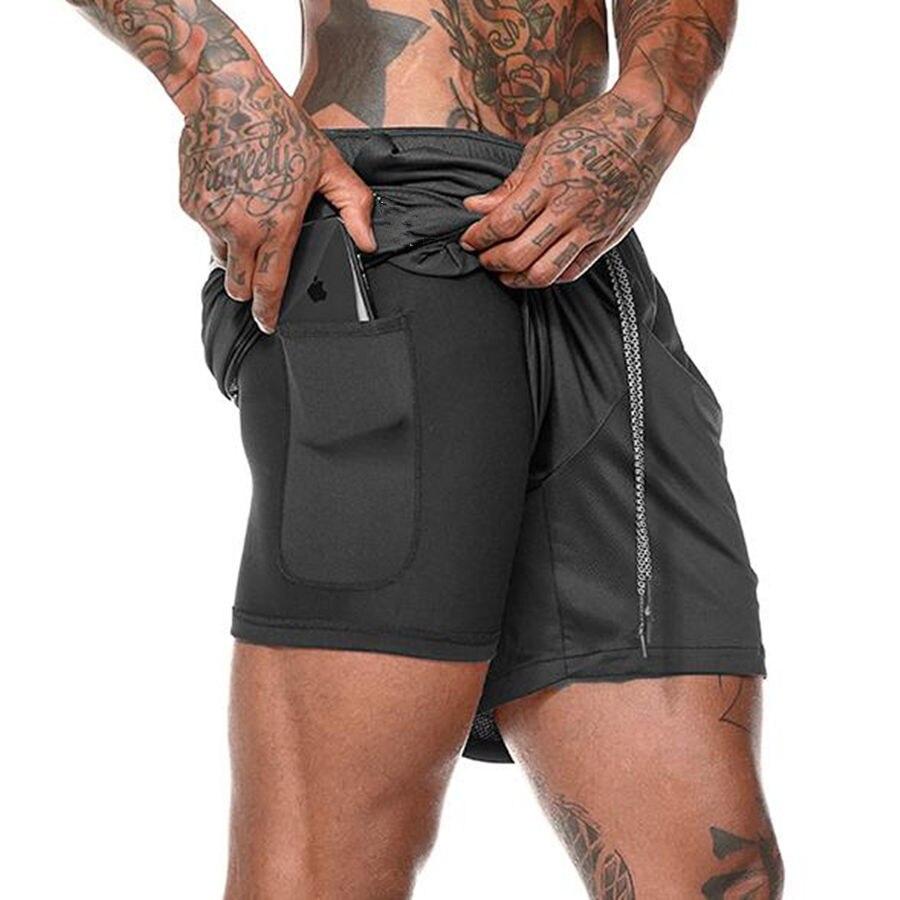 Мужские шорты для бега 2 в 1, Короткие штаны для тренажерных залов, фитнеса, бодибилдинга, тренировок, быстросохнущие пляжные шорты, мужская летняя спортивная одежда