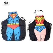 Novelty Women Men Waterproof Kitchen Bib Aprons Comic Superhero Costume Apron Funny Gift