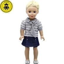 18 inç Kız oyuncak bebek giysileri Gri Kısa kollu Gömlek + Kot Etek Takım Elbise 18 inç Kız Bebek Aksesuarları 406