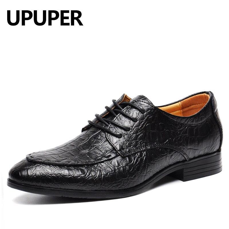 Plus Size 49 50 Genuine Leather Men Business Dress Shoes Breathable Oxfords Luxury Crocodile Pattern Pointed Toe Men Shoes