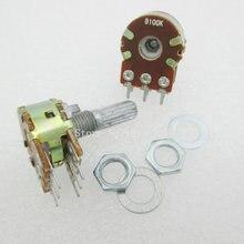5 stks/partij b100k 100 k ohm wh148 6pin lineaire dual rotary potentiometer potten as 20mm met noten en shim