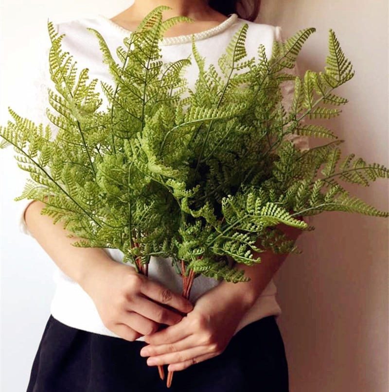 Toque Real sensación Fern ramo de hojas helecho artificial verde planta de hoja perenne para boda centros de mesa de vegetación