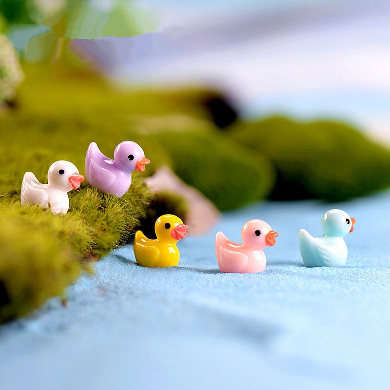 10 unids/lote Kawaii pato miniatura jardín animales hadas miniaturas de jardín accesorios artesanía en resina bricolaje microadornos para paisajismo hogar