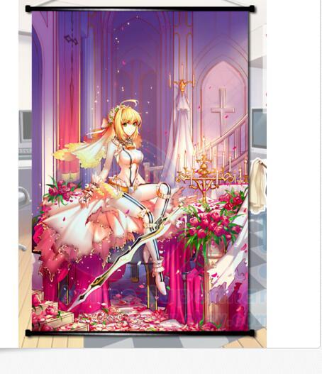 El destino/EXTRA Saber Nero novia Anime póster enrollable de pared hogar Decoración regalo