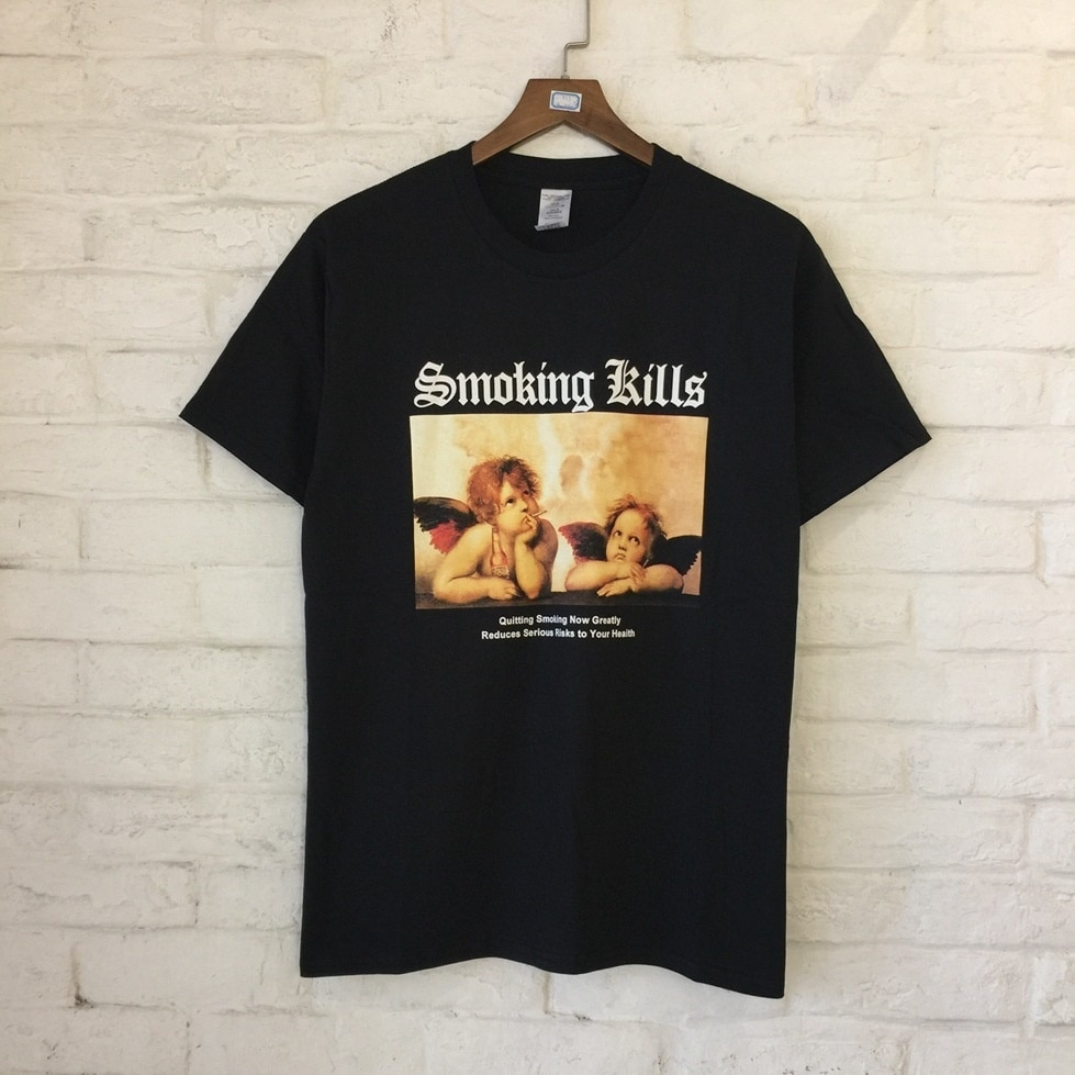 HAHAYULE 1pcs 2018 Summer Gothic Smoking Kills Picture Print T Shirt Cool Fashion Women Short Sleeve O Neck Female Tops