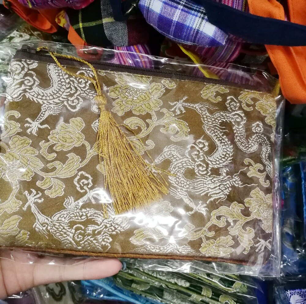 5 uds. Bolsas de monedas de seda bordadas rectangulares con borlas de colores mezclados, monedero, cartera con cremallera, bolsos de joyería, bolso de collar 6