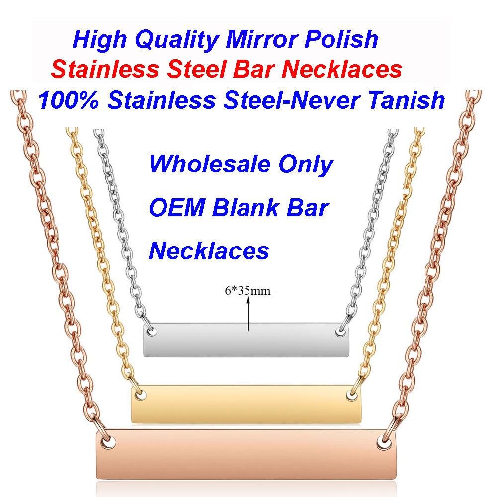 5 unidades/lote de collares de barra de acero inoxidable blanco, venta al por mayor, barra de estampación grabada cuadrada Vnistar pulida con espejo, collares