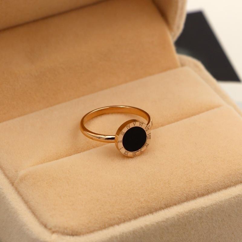 Marque de mode amour coquille noire ronde chiffres romains bague en or Rose couleur acier inoxydable femmes cadeau de mariage
