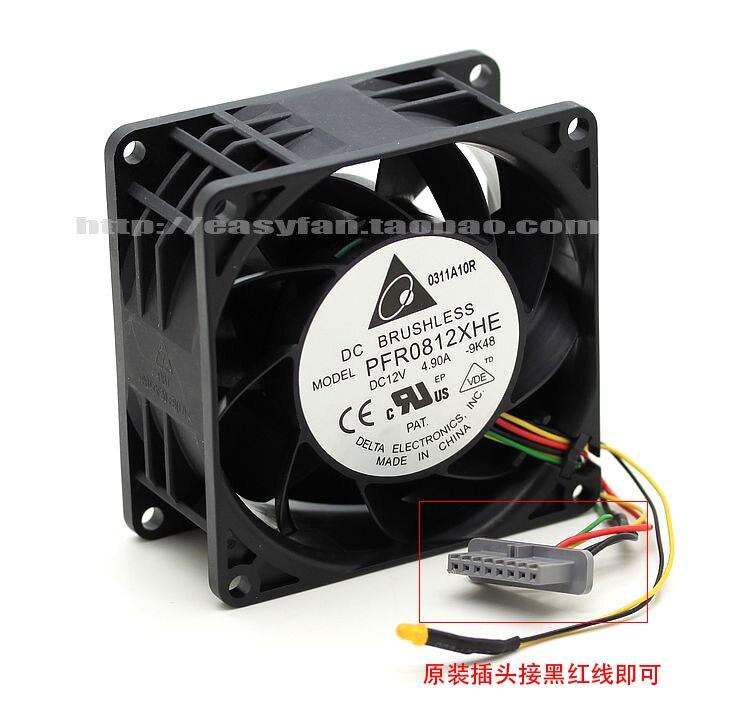 Detla Electronics PFR0812XHE 9K48 DC 12V 4.90A 80x80x38mm Server Cooling Fan