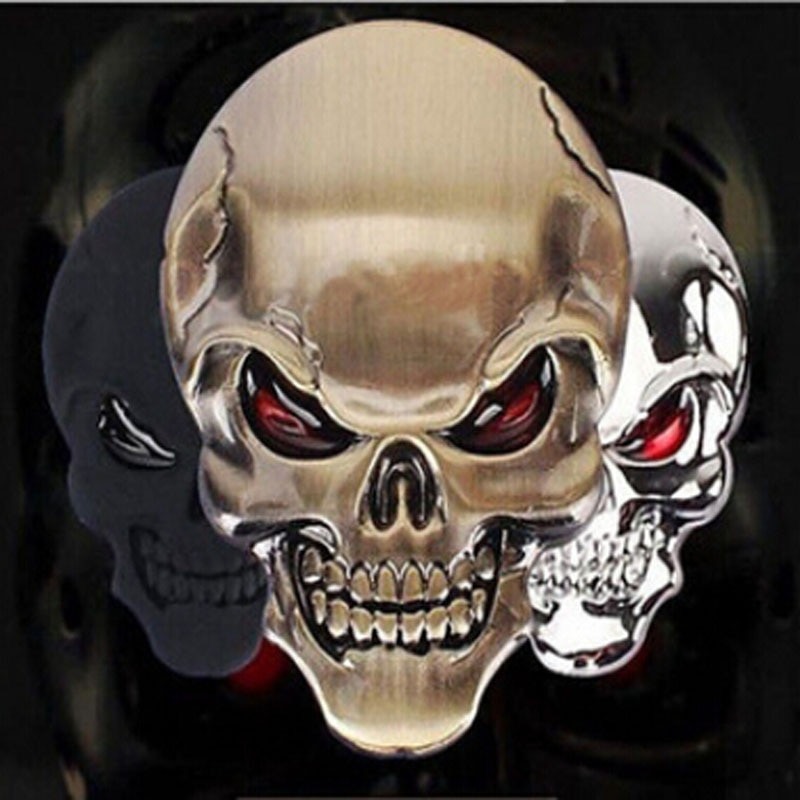 AliExpress - 3D Metal Gold Black Skull Skeleton Car Motorcycle Decal Stickers Emblem Badge In-Stock Stocked Wholesale