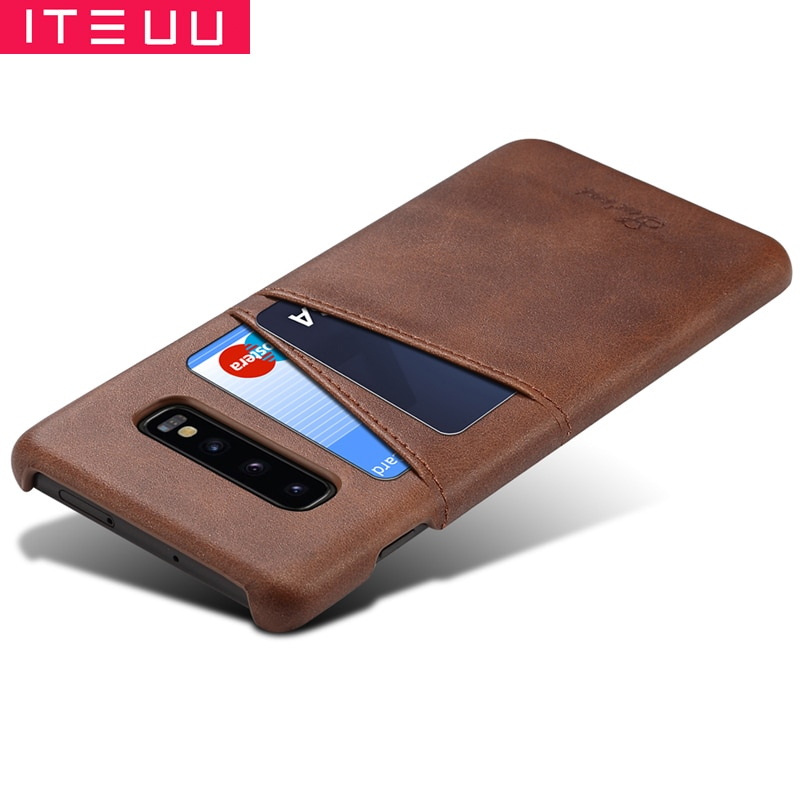 ITEUU S10 S10PLUS S10E Retro PU Funda de cuero para Samsung Galaxy S10 Plus S10E fundas ranura para tarjeta cubierta trasera de lujo