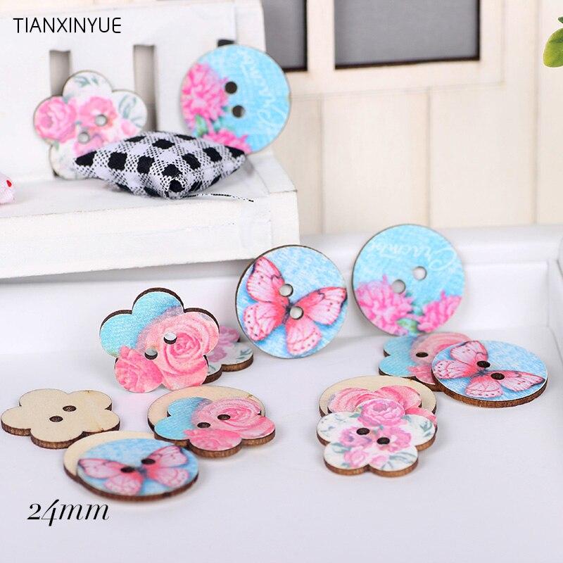 Botón de costura de madera de 24 mm y 50 Uds. color al azar con dos agujeros y botones de mariposa rosa, accesorios de ropa DIY