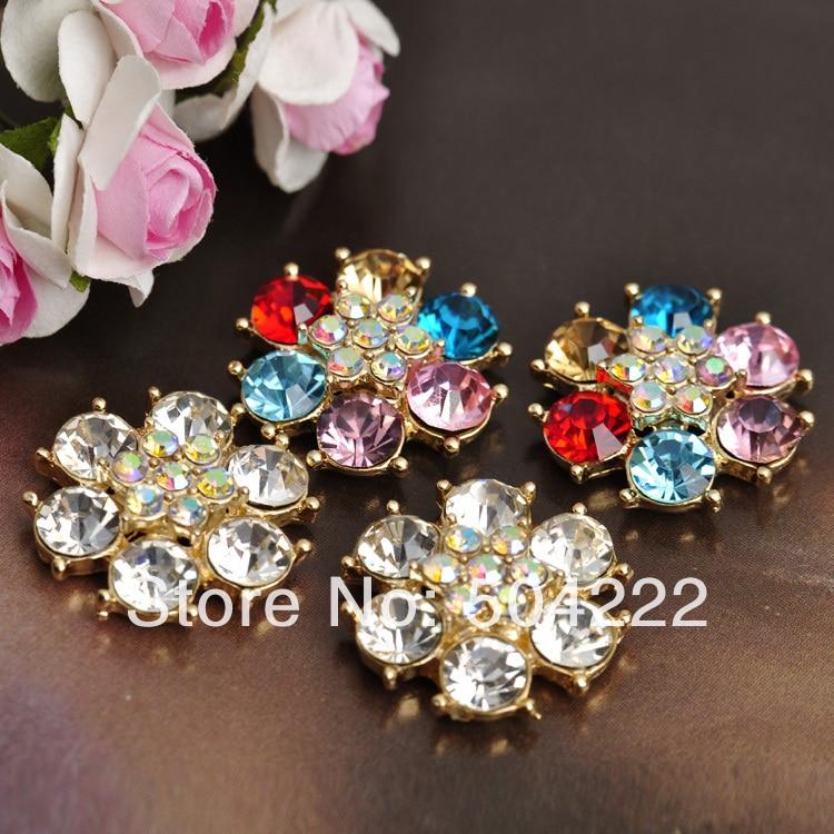 30pcs Rosette Rhinestone Button 23mm flower shaped gem crystal metal zinc alloy cobochon mixed colors mix color grade A+