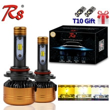 R8 патент Три цвета светодиодные фары комплект Z5 H1 H7 H11 9005 9006 H4 50W 5800LM желтый и белый двойной цвет LED свет 3000K 4300K