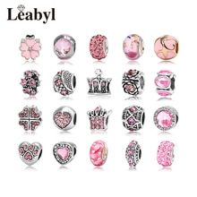 4 unids/lote Leabyl, abalorios de aleación de cristal Rosa europeo y americano, compatible con pulsera, corona de plata tibetana, Cuenta de flor de corazón para hacer tú mismo