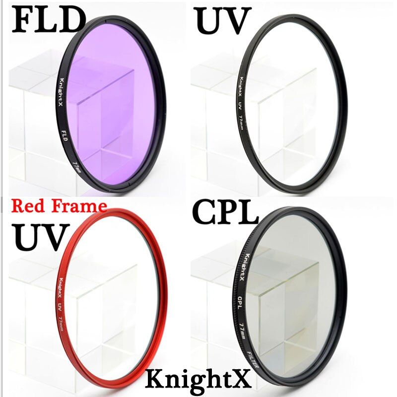 KnightX 52mm 58 67 77mm MM UV CPL FLD Kit Filtro infravermelho Filtro de polarização Circular para Nikon Canon d3300 D5200 D6 DSLR Camera