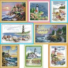 Hand Stickerei DIY Malerei Kreuz stich kits 14ct 11ct Leuchtturm Serie Landschaft Kreuz-stich Sets Für Stickerei