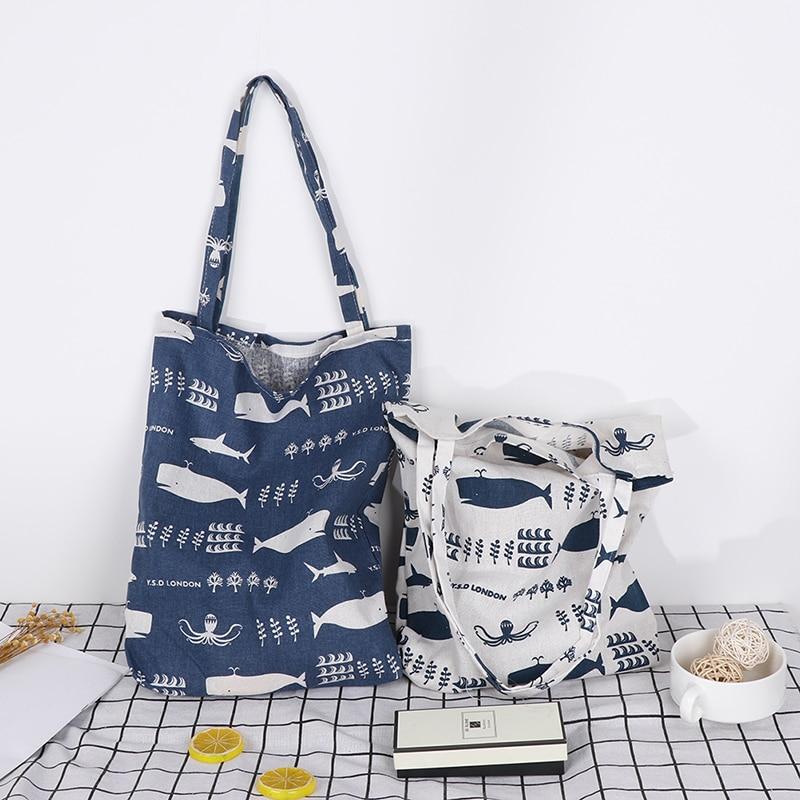 1 Uds Durable 1 capa sin forro de algodón de lino de compras bolso de transporte bolsa de hombro de impresión ballena pulpo Vida Marina bolsas de la compra