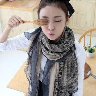 1 retro bohemio bufandas estampado de porcelana gasa suave de terciopelo de seda bufandas para chica 60*170cm