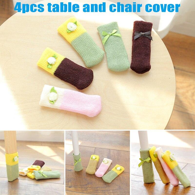 4 Uds pequeño estilo fresco que hace punto la base de silla de la tabla de la pierna cubre los calcetines del piso Protector del hogar comedor Hogard JA04