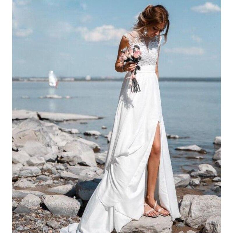 Eightale Beach Wedding Dresses 2019 O-Neck Lace Appliques Chiffon Boho Bride Dress High Split Wedding Gowns robe de mariee недорого
