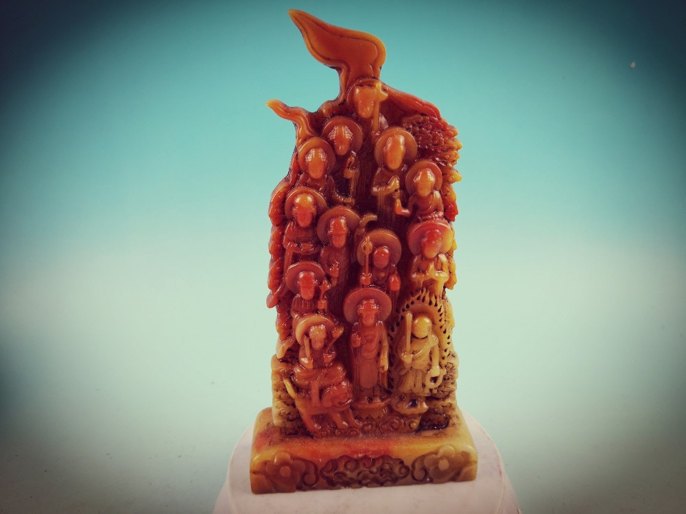 Chinês shoushan pedra Mão-Pedra esculpida escultura Guanyin Estátua de Buda