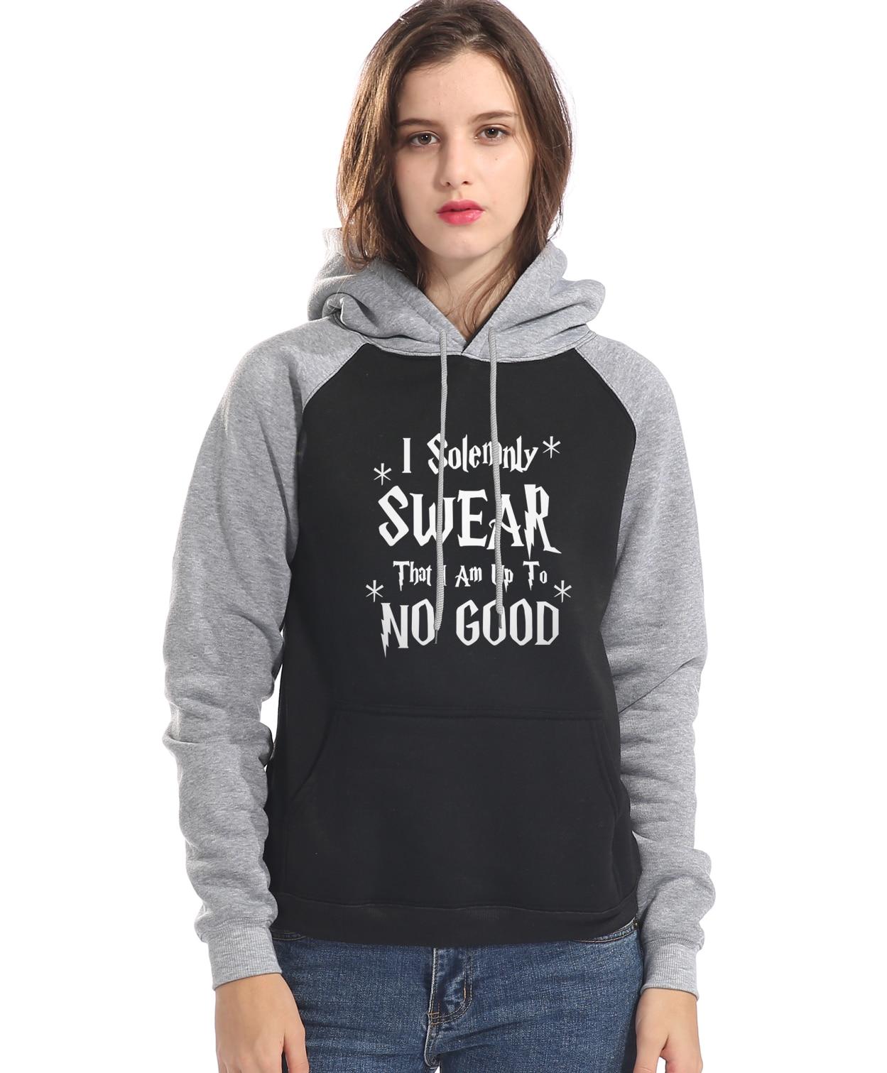 Pulóveres 2019 Otoño Invierno raglán Manga I jurly que I Am Up To No Good hoodies mujeres moda hip-hop Sudadera con capucha