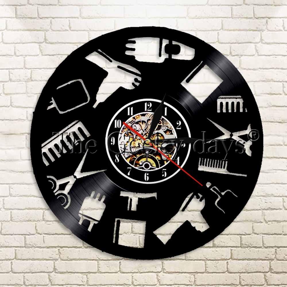 1 pieza de herramientas de salón de belleza, reloj de vinilo para grabar, regalo, Idea para peluqueros, barbería, tiendas, decoración, arte de vinilo
