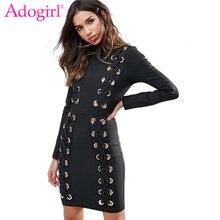 Adogirl 2018 Trendy Grommet Crisscross Detail Pencil Dress Solid Black High Neck Long Sleeve Bodycon Mini Office Ladies Dresses