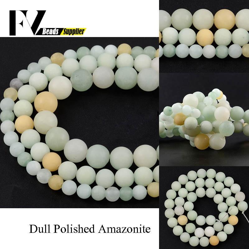Cuentas redondas sueltas de amazonita para fabricación de joyas, collar, pulsera, 15...